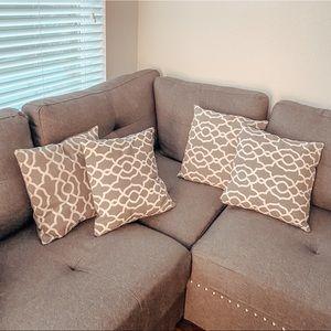 Set of 4 Accent Pillows / Gray Linen